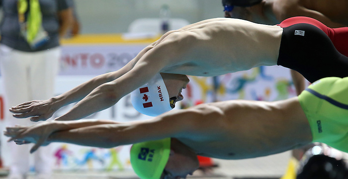 Toronto, Ontario, August 10, 2015. Tyler Mrak competes in swimming during the 2015 Parapan Am Games . Photo Scott Grant/Canadian Paralympic Committee