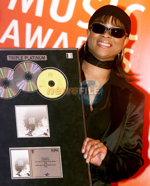 Gabrielle who received a triple platinum at the Meteor Irish Music Awards in the Point on Friday night..Picture: Paul Mohan/Newsfile..SEE JOHN CASSIDY FOR COPY IN IRISH SUNDAY MIRROR