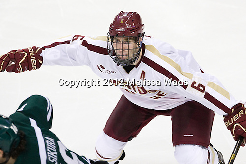 Patrick Wey (BC - 6) - The Boston College Eagles defeated the visiting Dartmouth College Big Green 6-3 (EN) on Saturday, November 24, 2012, at Kelley Rink in Conte Forum in Chestnut Hill, Massachusetts.