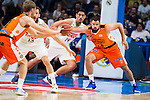 Real Madrid's player Sergio Rodriguez and Gustavo Ayon and Valencia Basket's Shurna and Dubljevic during the first match of the Semi Finals of Liga Endesa Playoff at Barclaycard Center in Madrid. June 02. 2016. (ALTERPHOTOS/Borja B.Hojas)
