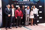 "Presentation at the Intercontinental Hotel in Madrid of the film ""Group 7"" with the presence of the actors Mario Casas, Antonio de la Torre, Inma Cuesta, Jose Manuel Poga, Joaquin Nunez, director Alberto Rodriguez, and producer Jose Antonio Fellez. In the picture: Jose Antonio Fellez, Jose Manuel Poga, Joaquin NuÒez, Alberto Rodriguez, Antonio de la Torre, Inma Cuesta and Mario Casas (MARTA GONZALEZ)"