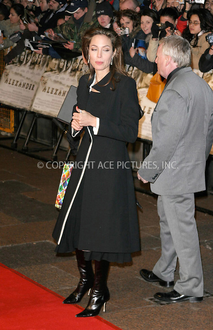 WWW.ACEPIXS.COM . . . . .  ... . . . . US SALES ONLY . . . . .....LONDON, JANUARY 5, 2004....Angelina Jolie at the UK premiere of Alexander.....Please byline: FAMOUS - ACE PICTURES - F. DUVAL... . . . .  ....Ace Pictures, Inc:  ..Alecsey Boldeskul (646) 267-6913 ..Philip Vaughan (646) 769-0430..e-mail: info@acepixs.com..web: http://www.acepixs.com