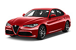 2017 Alfa Romeo Giulia Veloce 4 Door Sedan angular front stock photos of front three quarter view