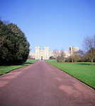 View of Windsor castle along the Long Walk, Windsor, Berkshire, England
