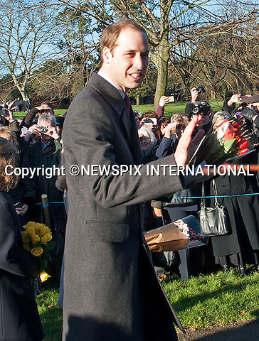 PRINCE WILLIAM<br /> joined other members of the Royal Family at the Christmas Day Church Service at St. Mary Magdalene's on the Sandringham Estate.<br /> Royals in attendance include the Queen, Prince Philip, Prince Charles, Camilla, Prince Andrew, Princesses Beatrice and Eugenie, Princes William and Harry, Princess Anne, Tim Laurence, Mike Tindall, Peter Phillips, Autumn Kelly, The Linleys and The Chattos_25/12/2013<br /> MANDATORY PHOTO CREDIT: &copy;NEWSPIX INTERNATIONAL<br /> <br /> (Failure to credit will incur a surcharge of 100% of reproduction fees)<br /> <br /> **ALL FEES PAYABLE TO: &quot;NEWSPIX  INTERNATIONAL&quot;**<br /> <br /> Newspix International, 31 Chinnery Hill, Bishop's Stortford, ENGLAND CM23 3PS<br /> Tel:+441279 324672<br /> Fax: +441279656877<br /> Mobile:  07775681153<br /> e-mail: info@newspixinternational.co.uk