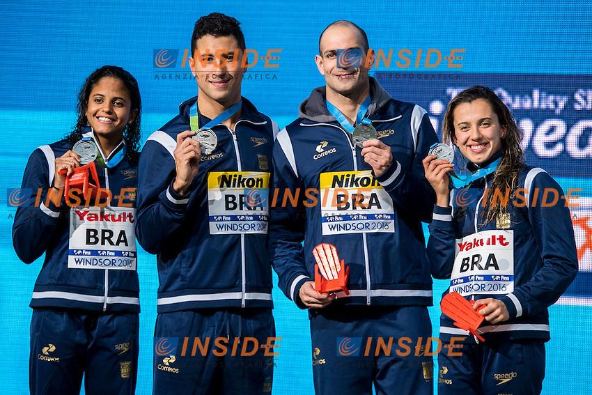 Brazil BRA Silver Medal <br /> MEDEIROS Etiene (W) LIMA Felipe (M) SANTOS Nicholas (M) OLIVEIRA Larissa<br /> Mixed 4x100m Medley Relay<br /> 13th Fina World Swimming Championships 25m <br /> Windsor  Dec. 8th, 2016 - Day03 Finals<br /> WFCU Centre - Windsor Ontario Canada CAN <br /> 20161208 WFCU Centre - Windsor Ontario Canada CAN <br /> Photo &copy; Giorgio Scala/Deepbluemedia/Insidefoto