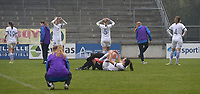 20190409  - Tubize , BELGIUM : disappointed players of Finland pictured at the end  the soccer match between the women under 19 teams of Switzerland and Finland , on the third matchday in group 2 of the UEFA Women Under19 Elite rounds in Tubize , Belgium. Tuesday 9 th April 2019 . PHOTO DIRK VUYLSTEKE / Sportpix.be