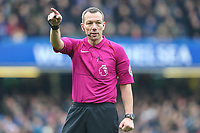 Referee Mr Kevin Friend during the Premier League match between Chelsea and Newcastle United at Stamford Bridge, London, England on 2 December 2017. Photo by David Horn.