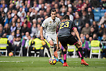 Lucas Vazquez of Real Madrid fights for the ball with Diego Reyees of RCD Espanyol during the match Real Madrid vs RCD Espanyol, a La Liga match at the Santiago Bernabeu Stadium on 18 February 2017 in Madrid, Spain. Photo by Diego Gonzalez Souto / Power Sport Images