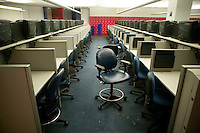 Flushing, NY - 16 August 2005 - View of one of the media rooms inside the Arthur Ash stadium at the National Tennis Center - home of the US Open - in Flushing, Queens, NY, USA, 16 August 2005.