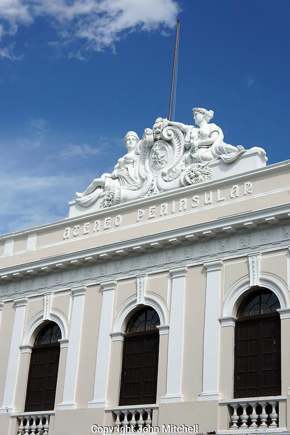The Bishop's Palace or Peninsula Athenaeum on Plaza Grande, Merida, Yucatan, Mexico...