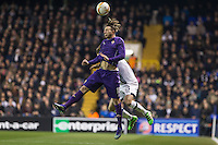 Federico Bernardeschi of Fiorentina wins the ball in the air during the UEFA Europa League 2nd leg match between Tottenham Hotspur and Fiorentina at White Hart Lane, London, England on 25 February 2016. Photo by Andy Rowland / Prime Media images.