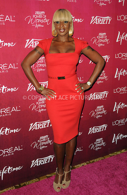 WWW.ACEPIXS.COM . . . . .  ....September 23 2011, LA....Singer Mary J. Blige arriving at the 3rd Annual Variety's Power of Women Event presented by Lifetimeon at the Beverly Wilshire Four Seasons Hotel on September 23, 2011 in LA....Please byline: PETER WEST - ACE PICTURES.... *** ***..Ace Pictures, Inc:  ..Philip Vaughan (212) 243-8787 or (646) 679 0430..e-mail: info@acepixs.com..web: http://www.acepixs.com