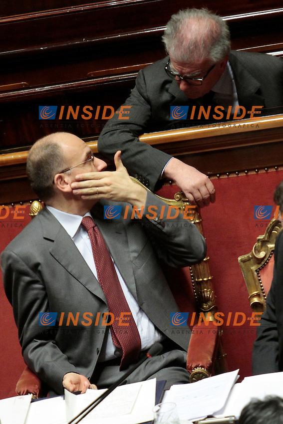 Enrico Letta e Luigi Zanda.Roma 21/05/2013 Senato. Il Premier riferisce al Senato sul consiglio UE..Italian Premier's speech at the Senate about UE..Photo Samantha Zucchi Insidefoto