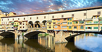"Panoramic view of the medieval The Ponte Vecchio (""Old Bridge"") crossing the River Arno in the hiostoric centre of Florence, Italy, UNESCO World Heritage Site."