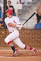 Center fielder Travis Mitchell (24) of the Johnson City Cardinals follows through on his swing at Howard Johnson Field in Johnson City, TN, Thursday July 3, 2008.