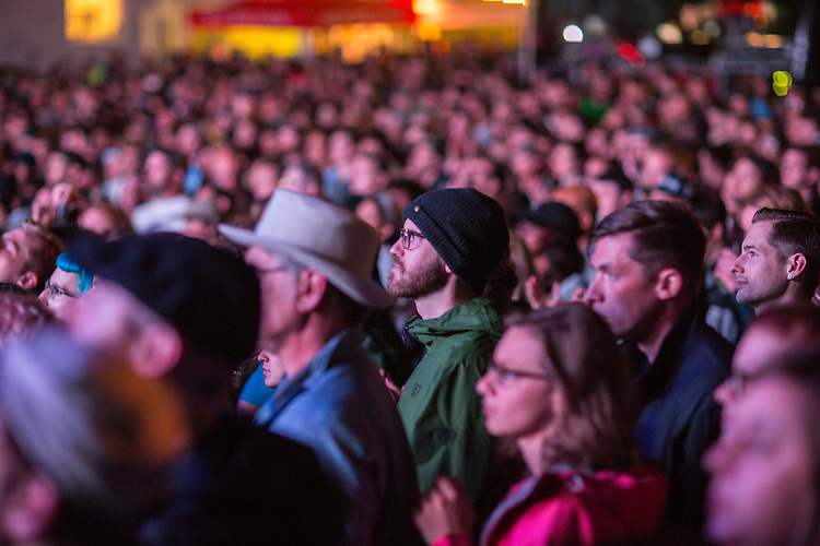 Durham, North Carolina - Thursday May 19, 2016 - The crowd at the Motorco stage looks on as Blood Orange performs Thursday night during Moogfest in Durham.