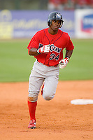 Harold Garcia #34 of the Lakewood BlueClaws rounds the bases after hitting a home run at Fieldcrest Cannon Stadium May 16, 2009 in Kannapolis, North Carolina. (Photo by Brian Westerholt / Four Seam Images)