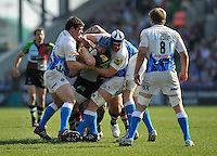 London, England. Joe Gray of Harlequins tackled during the Aviva Premiership match between Harlequins and Bath Rugby at Twickenham Stoop on March 24, 2012 in Twickenham, England.