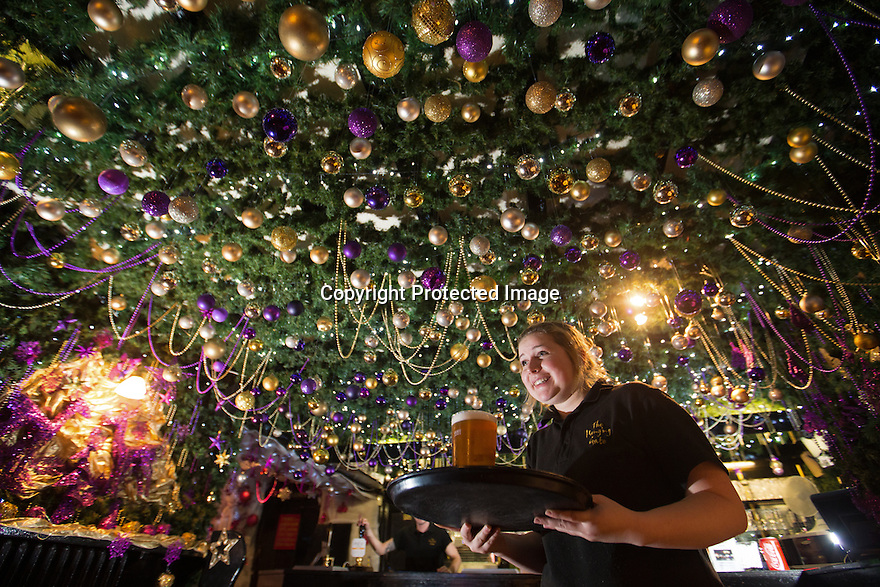 """30/11/15<br /> <br /> Waitress, Alice Marchington, 18.<br /> <br /> It has taken a team of five, two weeks to put up this stunning display of Christmas decorations in what is believed to be one of Britain's most festive pubs. The race was on to put up the 7,500 baubles and 27,000 fairy lights, before guests arrived for the pub's first Christmas parties held last night . <br /> <br /> Each of the five rooms at the Hanging Gate at Chapel-en-le-Frith in the Derbyshire Peak District has a different theme or colour. This year the main restaurant is the Indoor Igloo, the bar area is purple and gold and there's the Candy Cain room upstairs in the pub near Buxton. There's also has another 10,000 lights on the outside of the building. <br /> <br /> """"We've had to replace a few thousand of the LED lights this year, I buy them in huge lengths so it's cost lots  to get everything ready"""" said landlord Mark Thomas.<br /> <br /> All Rights Reserved: F Stop Press Ltd. +44(0)1335 418365   www.fstoppress.com."""