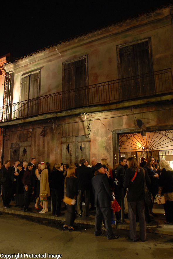 Guests wait outside of Preservation Hall after Sean Yseult and Chris Lee where were married in New Orleans, Saturday, Jan. 12, 2008.