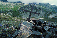 Trail side grave marker on mountain pass. Disentis, Switzerland Europe.