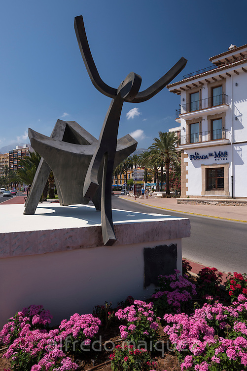 Bulls in the street monument at Denia village