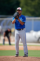 Toronto Blue Jays relief pitcher Francisco Rios (26) gets ready to deliver a pitch during a Florida Instructional League game against the Pittsburgh Pirates on September 20, 2018 at the Englebert Complex in Dunedin, Florida.  (Mike Janes/Four Seam Images)