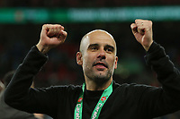Manchester City manager Pep Guardiola. during Aston Villa vs Manchester City, Caraboa Cup Final Football at Wembley Stadium on 1st March 2020