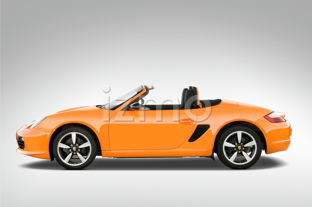 Drive side profile of a 2008 Porsche Boxster LE, with the top down