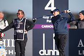 6th October 2017, Carnoustie Golf Links, Carnoustie, Scotland; Alfred Dunhill Links Championship, second round; England's Matthew Fitzpatrick tees off on the fourth hole on the Championship Links, Carnoustie during the second round at the Alfred Dunhill Links Championship