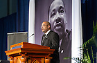 Jan. 18, 2016; Dean Hugh Page offers opening remarks at the Martin Luther King, Jr. Celebration Luncheon 2016.  (Photo by Barbara Johnston/University of Notre Dame)