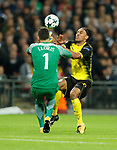 Tottenham's Hugo Lloris tussles with Dortmund's Pierre-Emerick Aubameyang during the champions league match at Wembley Stadium, London. Picture date 13th September 2017. Picture credit should read: David Klein/Sportimage