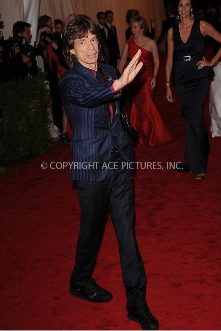 "WWW.ACEPIXS.COM . . . . . .May 7, 2012...New York City.....Mick Jagger attending the ""Schiaparelli and Prada: Impossible Conversations"" Costume Institute Gala at The Metropolitan Museum of Art in New York City on May 7, 2012  in New York City ....Please byline: KRISTIN CALLAHAN - ACEPIXS.COM.. . . . . . ..Ace Pictures, Inc: ..tel: (212) 243 8787 or (646) 769 0430..e-mail: info@acepixs.com..web: http://www.acepixs.com ."