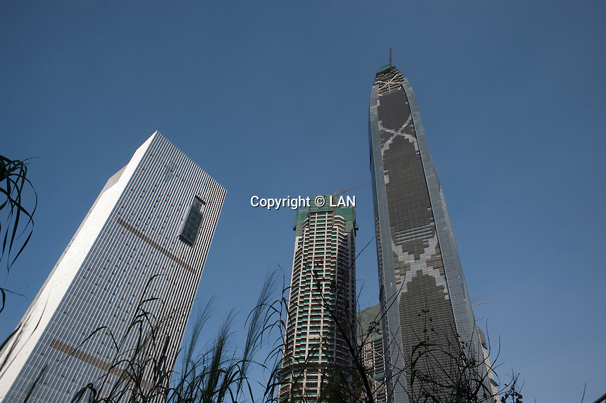 Daytime horizontal low angle view of The Fuli Yingxin Building and The Guangsheng International Buildings in Guangzhou, China.  © LAN