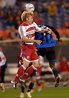 FC Dallas defender Bobby Rhine challenges Colorado forward Fabrice Noel for a head ball. The Colorado Rapids and FC Dallas played to a 2-2 draw at Invesco Field at Mile High Stadium in Denver, CO, April 15, 2006.