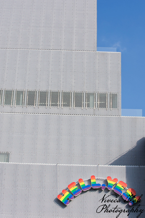 "Exterior of New Museum, Bowery, NYC featuring ""Hell, Yes!"" graphic sign"