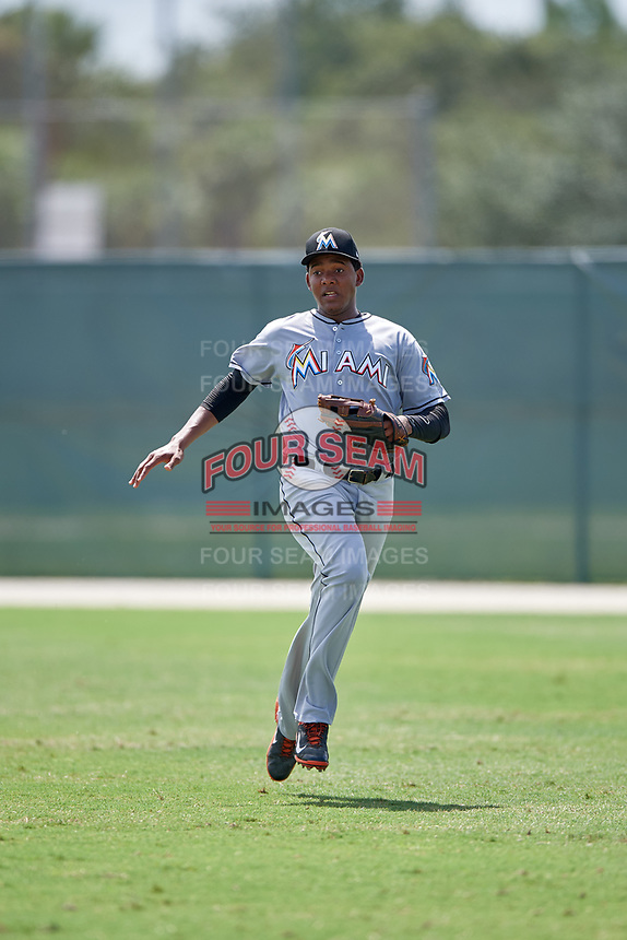 GCL Marlins right fielder Yeral Encarnacion (32) during the first game of a doubleheader against the GCL Nationals on July 23, 2017 at Roger Dean Stadium Complex in Jupiter, Florida.  GCL Nationals defeated the GCL Marlins 4-0.  (Mike Janes/Four Seam Images)