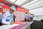 Israel Cycling Academy at sign on before the start of Stage 2 of Il Giro di Sicilia running 236km from Capo d'Orlando to Palermo, Italy. 4th April 2019.<br /> Picture: LaPresse/Massimo Paolone | Cyclefile<br /> <br /> <br /> All photos usage must carry mandatory copyright credit (© Cyclefile | LaPresse/Massimo Paolone)