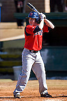 A.J. Czap #5 of the Shippensburg Red Raiders at bat versus the Catawba Indians February 14, 2010 in Salisbury, North Carolina.  Photo by Brian Westerholt / Four Seam Images