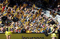 London Wasps fans during the Aviva Premiership match between London Wasps and Gloucester Rugby at Twickenham Stadium on Saturday 19th April 2014 (Photo by Rob Munro)
