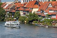 Germany, Bavaria, Upper Franconia, Bamberg: Little Venice at river Regnitz, the old town is ranked UNESCO World Heritage Site | Deutschland, Bayern, Oberfranken, Bamberg: Klein-Venedig, Fischer- und Schifferhaeuser an der Regnitz, die Altstadt ist UNESCO Weltkulturerbe