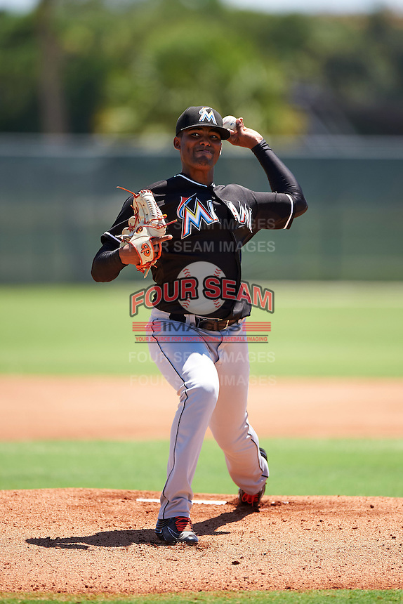 GCL Marlins starting pitcher Manuel Rodriguez (24) during the second game of a doubleheader against the GCL Cardinals on August 13, 2016 at Roger Dean Complex in Jupiter, Florida.  GCL Cardinals defeated GCL Marlins 2-0.  (Mike Janes/Four Seam Images)