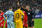 06.11.2019, BayArena, Leverkusen, GER, CL, Bayer 04 Leverkusen vs Atletico Madrid, UEFA regulations prohibit any use of photographs as image sequences and/or quasi-video <br /> <br /> im Bild Schiedsrichter Damir Skomina gibt Gelb / gelbe Karte Jan Oblak (#13, Atletico Madrid) Morata (#9, Atletico Madrid) Jonathan Tah (#4, Bayer 04 Leverkusen) Karim Bellarabi (#38, Bayer 04 Leverkusen) <br /> <br /> Foto © nordphoto/Mauelshagen