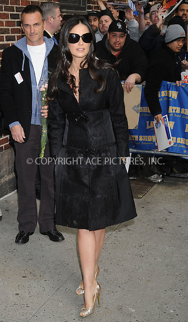WWW.ACEPIXS.COM . . . . .  ....March 24 2008, New York City....Actress Demi Moore appeared on the 'Late Show with David Letterman' at the Ed Sullivan Theatre in midtown Manhattan....Please byline: KRISTIN CALLAHAN - ACEPIXS.COM.... *** ***..Ace Pictures, Inc:  ..te: (646) 769 0430..e-mail: info@acepixs.com..web: http://www.acepixs.com