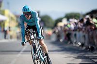 Jakob Fuglsang (DEN/Astana) rolling over the finish line<br /> <br /> Stage 13 (ITT): Pau to Pau(27km)<br /> 106th Tour de France 2019 (2.UWT)<br /> <br /> ©kramon