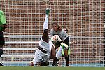 24 August 2014: Ohio State's Megan Geldernick (behind) makes a save as North Carolina's Satara Murray (44) lands on her head. The University of North Carolina Tar Heels hosted the Ohio State University Buckeyes at Fetzer Field in Chapel Hill, NC in a 2014 NCAA Division I Women's Soccer match. UNC won the game 1-0.