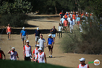 Orange t-shirts in abundance in support of Joost Luiten (NED) during the Final Round of the 2016 Omega Dubai Desert Classic, played on the Emirates Golf Club, Dubai, United Arab Emirates.  07/02/2016. Picture: Golffile | David Lloyd<br /> <br /> All photos usage must carry mandatory copyright credit (&copy; Golffile | David Lloyd)