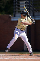 Allan Dykstra (10) of the Wake Forest Demon Deacons at bat versus the Clemson Tigers during the second game of a double header at Gene Hooks Stadium in Winston-Salem, NC, Sunday, March 9, 2008.