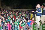 Milltown/Castlemaine manager John Fintan Daly thanks the crowd gathered for the home coming in Milltown on Monday night